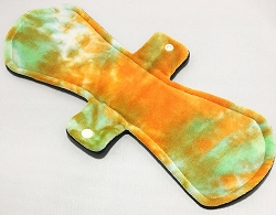 13 Inch Pumpkin Hand Dyed Bamboo Velour Post Partum Pad with Fleece back