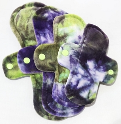 Purple and Green Hand Dyed Bamboo Velour Pads with Fleece backs - Pick Your Size!