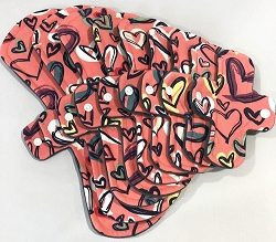 Scribble Hearts Cotton Jersey Pads with Fleece backs - Pick Your Size!