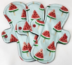 Watercolor Watermelons Organic Cotton Jersey Pads with Fleece backs - Pick Your Size!