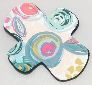 6 Inch Pop Art Blooms Cotton Jersey Mini Cloth Pantyliner - Wide Width