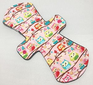 13 Inch Owls Cotton Jersey Post Partum Cloth Pad