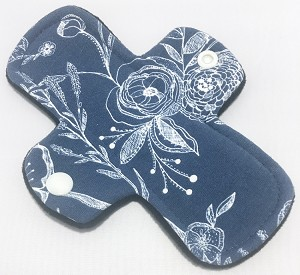 6 Inch Line Drawings Cotton Jersey Mini Cloth Pantyliner - Original Width