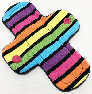 6 Inch Neon Stripes Cotton Jersey Mini Cloth Pantyliner - Original Width