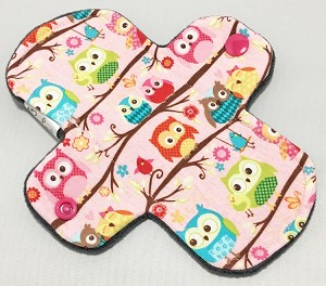 6 Inch Owls Cotton Jersey Mini Cloth Pantyliner - Wide Width