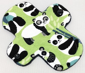 6 Inch Green Pandas Cotton Jersey Mini Cloth Pantyliner - Wide Width
