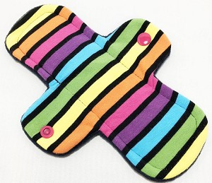 8 Inch Neon Stripes Cotton Jersey Light Cloth Pad