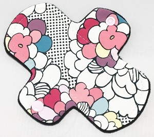6 Inch Pop Art Floral Cotton Jersey Mini Cloth Pantyliner - Wide Width