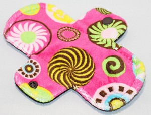 6 Inch Retro Pink Circles Minky Mini Cloth Pantyliner - Wide Width