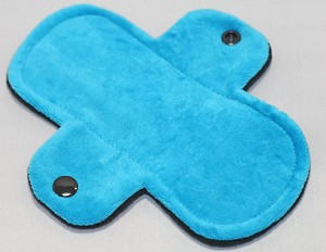 6 Inch Turquoise Cotton Velour Mini Cloth Pantyliner