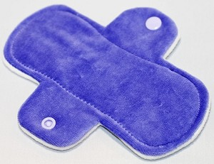 6 Inch Lavender Cotton Velour Mini Cloth Pantyliner - Wide Width