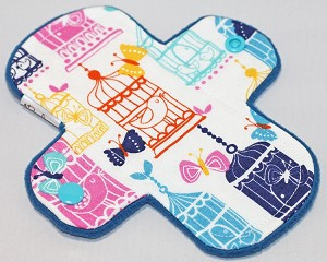 6 Inch Birdcages Cotton Print Mini Cloth Pantyliner - Wide Width