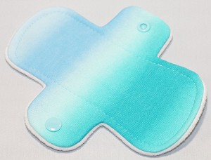 6 Inch Aqua Stripe Cotton Jersey Mini Cloth Pantyliner - Wide Width