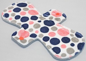 11 Inch Coral and Navy Bubble Dot Minky Overnight Cloth Pad
