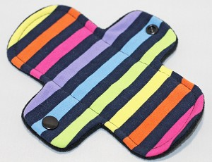 6 Inch Neon Stripes Cotton Jersey Mini Cloth Pantyliner - Wide Width