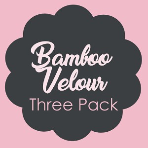 Set of Three 11 Inch Surprise Color Bamboo Velour Overnight Pads with Fleece backs