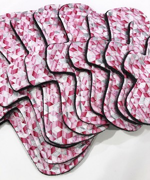 Pink Geometric Cotton Woven Pads with Fleece backs - Pick Your Size!
