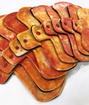 Hand Dyed Fire Bamboo Velour Pads with Fleece backs - Pick Your Size!
