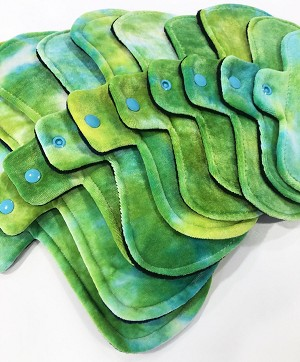 Hand Dyed Lime Fizz Bamboo Velour Pads with Fleece backs - Pick Your Size!