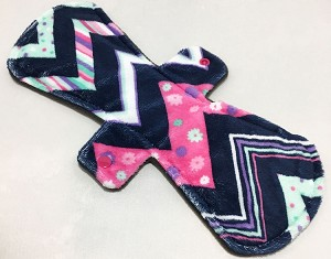 13 Inch Zig Zags Minky Post Partum Pad with Fleece back