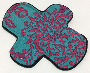 6 Inch Teal Damask Cotton Mini Liner - Wide Width