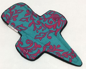 7.5 Inch Teal Damask Cotton Print Thong Liner