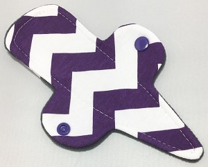7.5 Inch Purple Chevron Cotton Jersey Thong Cloth Pantyliner