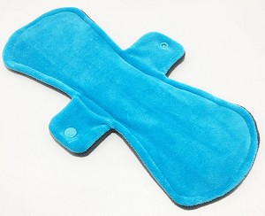 12 Inch Turquoise Cotton Velour Ultimate Overnight Cloth Pad