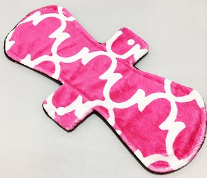 12 Inch Fuchsia Lattice Minky Ultimate Overnight Pad with Fleece back