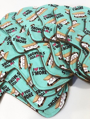 Love You S'more Cotton Woven Pads with Fleece backs - Pick Your Size!