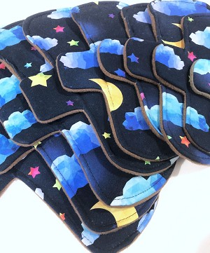 Night Skies Cotton Jersey Pads with Fleece backs - Pick Your Size!