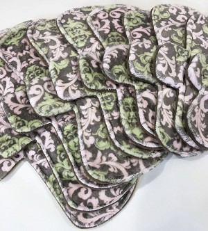 Pink and Green Damask Minky Pads with Fleece backs - Pick Your Size!