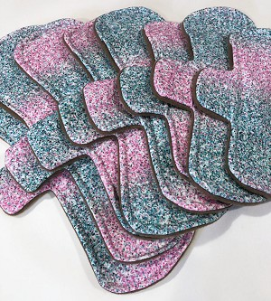 Pink and Teal Confetti Cotton Jersey Pads with Fleece backs - Pick Your Size!