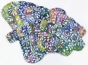 Rainbow Leaves Batik Cotton Jersey Pads with Fleece backs - Pick Your Size!