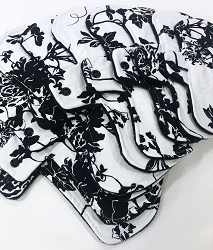 Black and White Floral Cotton Woven Pads with Fleece backs - Pick Your Size!