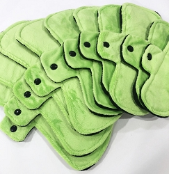 Lime Green Minky Pads with Black Fleece backs - Pick Your Size!