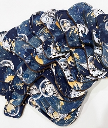 Space Critters Cotton Jersey Pads with Fleece backs - Pick Your Size!
