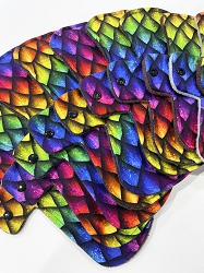 Rainbow Dragon Scales Cotton Jersey Pads with Fleece backs - Pick Your Size!