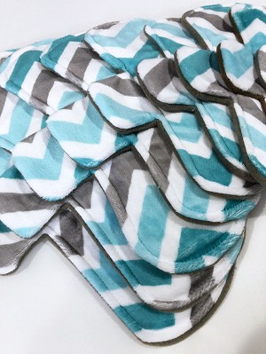 Teal Chevron Minky Pads with Fleece backs - Pick Your Size!